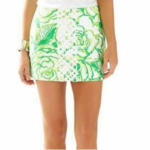 Lilly Pulitzer Green Rose Laced Panel Tate Skirt